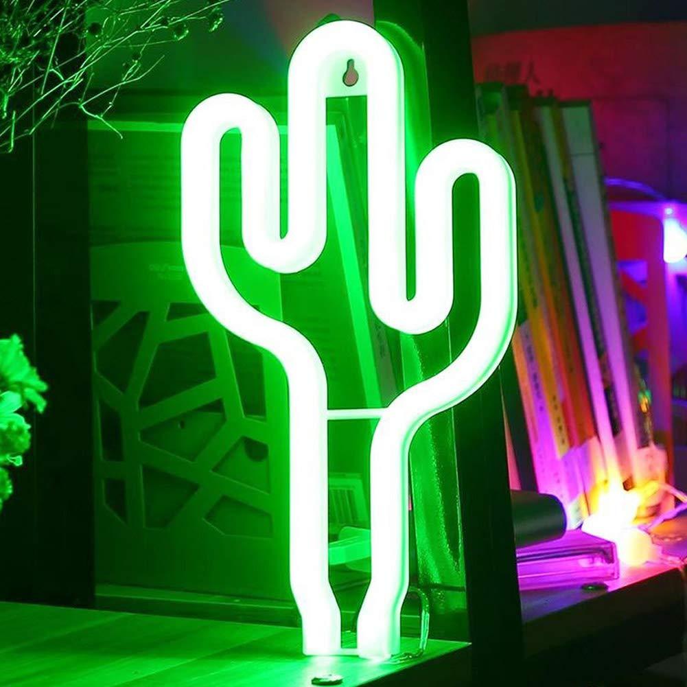 lampara neon verde con forma de cactus