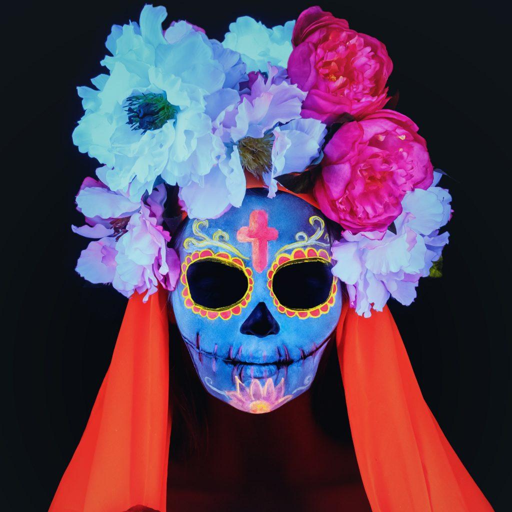 Disfraz neon fluorescente calavera mexicana