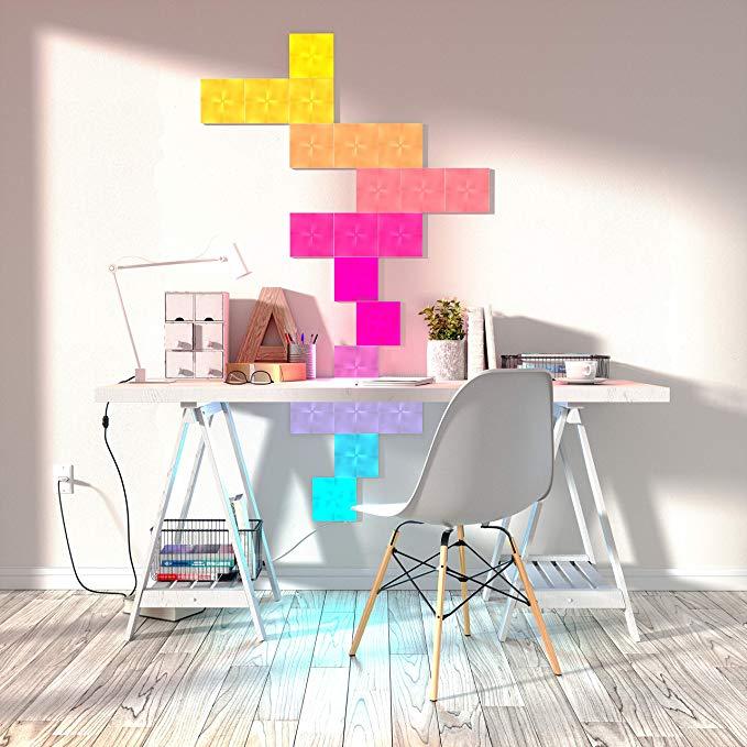 habitación con luces neón nanoleaf